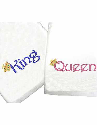 Crowned King and Queen Bath Towels - King and Queen Beach Towels