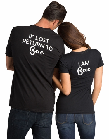 I am Bae | If Lost Return to Bae Matching Couple T-Shirt Set