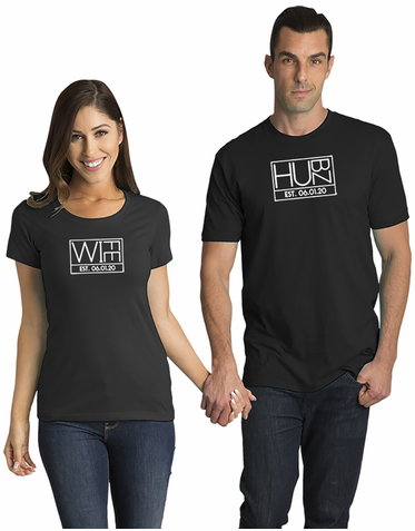 Custom Matching Couple Hubz and Wife T-Shirt Set