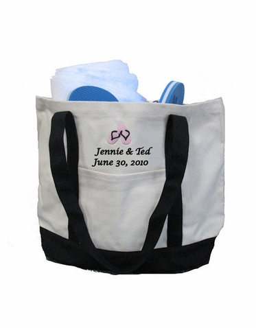 Personalized Bride and Groom Flip Flop Tote Bag