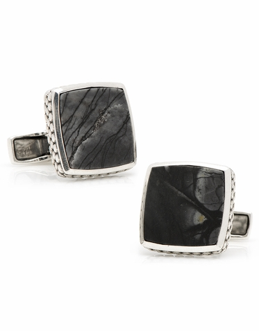Classic Cut Sterling Silver And  Picasso Stone Cufflinks