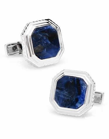 Impressive Lapis And Sterling Silver Designer Cufflinks