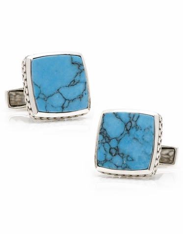 Sterling Silver Classic Scaled Turquoise Cufflinks