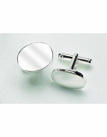 Pair of Engraveable Oval Cuff Links