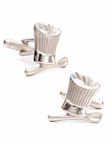 Chef's Hat And Spoon Silver Plated Cufflinks