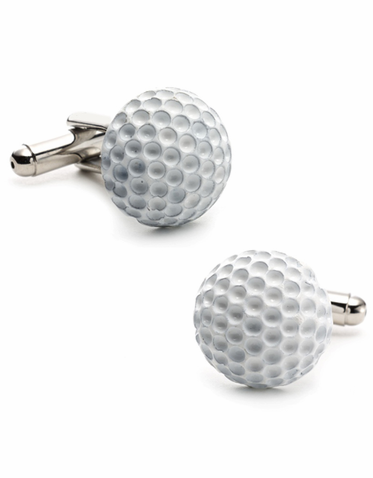Golf Ball Cufflinks In White Enamel