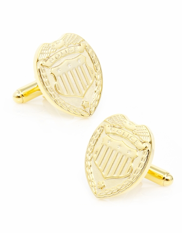 Police Shield Cufflinks In Gold Or Silver Finish