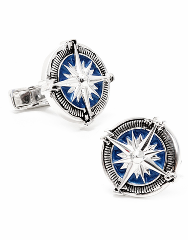 Hand-Painted Silver Compass Designer Cufflinks