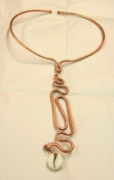 TEXTURED COPPER / COWRIE SHELL NECKLACE #2