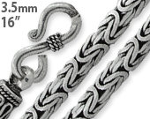 "Sterling Silver 16"" Square Byzantine Chain Necklace 3.5MM"