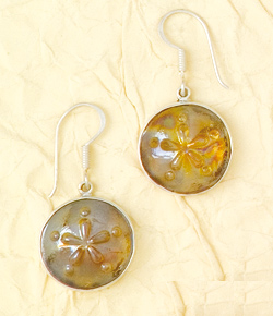 Recycled Iridescent Glass Sanddollar Earrings