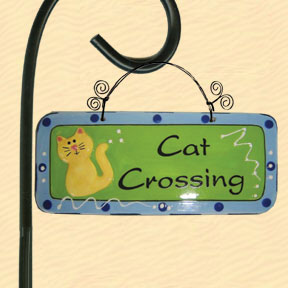 Cat Crossing Tumbleweed Garden Plaque