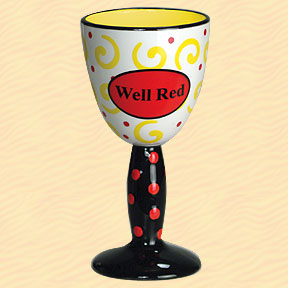 Well Red Tumbleweed Wine Goblet