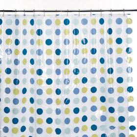 O.R.E. Shower Curtain Blue Polka Dots