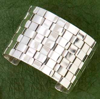 Sterling Silver Woven Cuff Braclelet