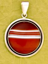 Sterling Silver Red Sardonyx Oxidized Pendant