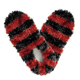 Fuzzy Footies Black & Red Striped Slippers