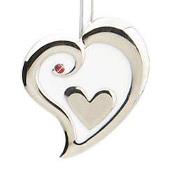 Silver Heart in Heart Finders Key Purse Key Finder