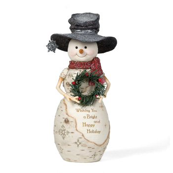"The Birchhearts 10.5"" Snowman Holding Wreath by Pavilion Gift"