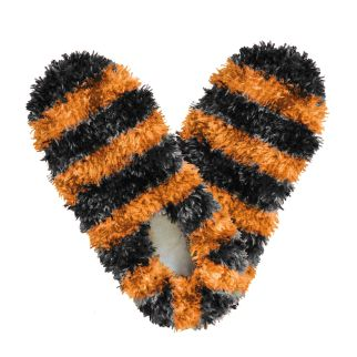 Fuzzy Footies Black & Orange Striped Slippers