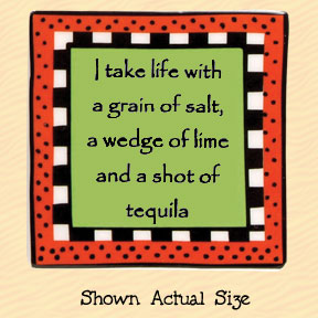 I Take Life with a Grain of Salt Tumbleweed Square Ceramic Magnet