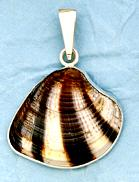 Sterling Silver Mexican Sunset Clam Shell Pendant