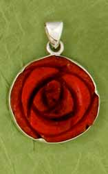 Carved Red Coral Rose Pendant by Charles Ablert