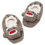 Infants, Toddlers, Childrens Plush Sock Monkey Slippers