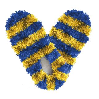 Fuzzy Footies Kids Blue and Gold Striped Slippers