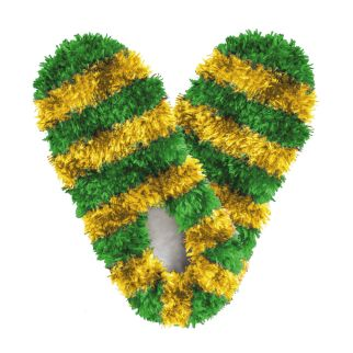 Fuzzy Footies Kids Green and Gold Striped Slippers