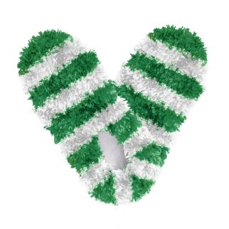 Fuzzy Footies Kids Green and White Striped Slippers
