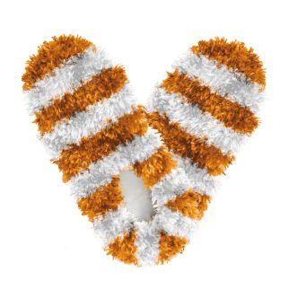 Fuzzy Footies Kids Orange and White Striped Slippers