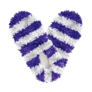 Fuzzy Footies Kids Purple and White Striped Slippers