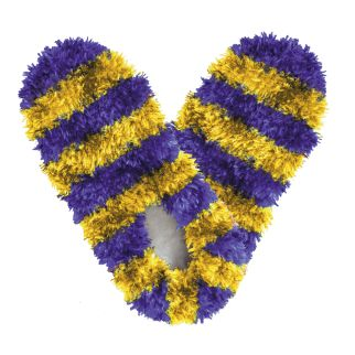 Fuzzy Footies Kids Purple and Yellow Striped Slippers
