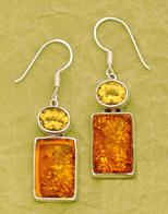 Sterling Citrine & Amber Earrings by Charles Albert