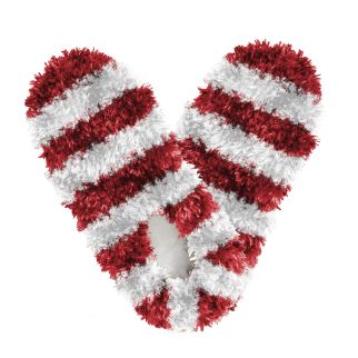 Fuzzy Footies Kids Red and White Striped Slippers