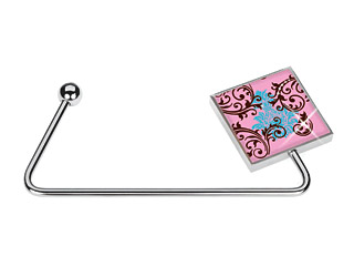 Glam Crystallized Pink Scroll Purse Hanger