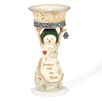 "The Birchhearts 5"" Snowmen Melt our Hearts Tea Light Holder by Pavilion Gift"