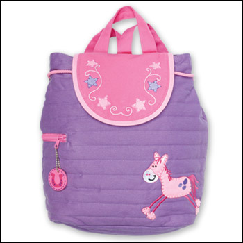 Stephen Joseph Quilted Girls Purple Horse Backpack