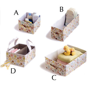 Ore Organization Essentials Alaina Flower Caddy and Small, Medium and Large Storage Boxes