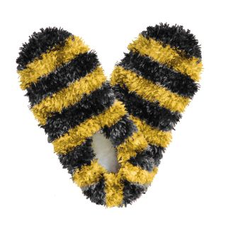 Fuzzy Footies Slippers Black and Gold Striped