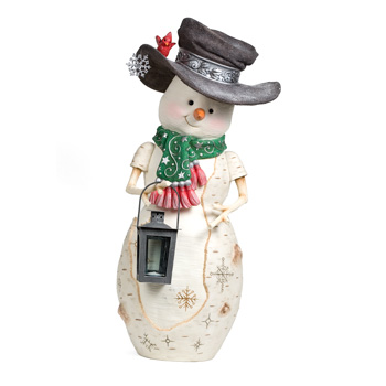 "The Birchhearts 24"" Snowman Holding Lantern by Pavilion Gift"
