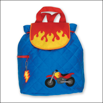 Stephen Joseph Flaming Motorcycle Blue Quilted Backpack