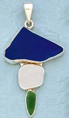 Sterling Silver Beach Glass Triple Pendant