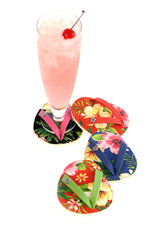 Hibiscus Hula Flip Flop Shoe Coasters Set of 4