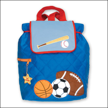 Stephen Joseph Blue Sports Theme Quilted Backpack