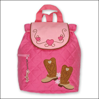 Stephen Joseph Girl Western Boots Pink Quilted Backpack