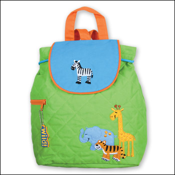 Stephen Joseph Green Zoo Theme Quilted Backpack
