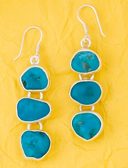 Sleeping Beauty Turquoise Freeform Earrings
