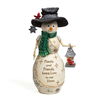 "The Birchhearts 7.5"" Snowman Holding a Birdhouse by Pavilion Gift"